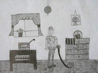 Dečak sa psom u sobi,crtež-olovka(6H,HB,3B)