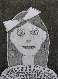 Portret devojčice Mimi, crtež - olovka 6H,HB,3B