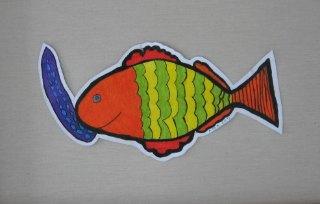 Ribica Čata,prostorni crtež-olovke u boji