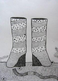 Čizme(kompozicija 1),pero-crtež,crni tuš