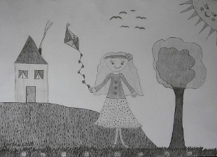 Alisa pušta zmaja, crtež - olovka 6H,HB,4B