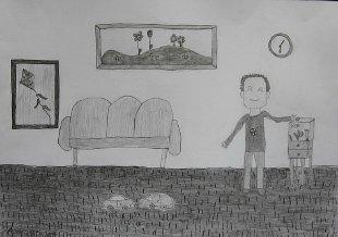 Andrej hrani ribice, crtež - olovka 6H,HB,4B
