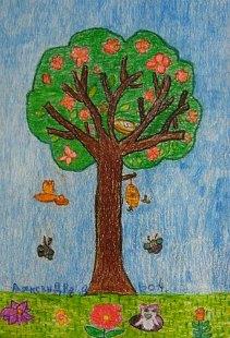 Drvo, proleće i pčelice, voštani pastel - crtež u boji