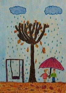 Jesen sa devojčicom i dečakom ispod kišobrana, voštani pastel - crtež u boji