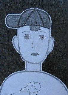 Portret dečaka sa kačketom,crtež-olovka(6H,HB,3B)
