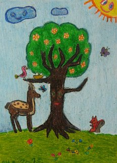 Proleće sa jelenom,vevericom i ptičicama,crtež u boji-voštani pastel