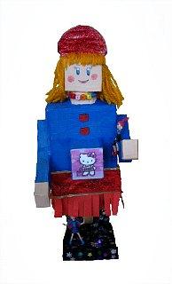 Robot Viki,objekat-kolaž(ambalaža,krep papir,kolaž papir,šljokice,vunica itd.)