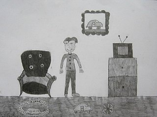 Dečak u svojoj sobi,crtež-olovka(6H;HB;4B)