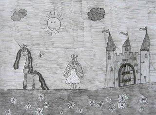 Princeza Bela i jednorog Selestija,crtež-olovka(6H,HB,3B)
