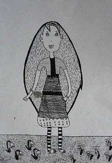 Devojčica u prugastim čarapama,crtež-tanki crni i srebrni flomaster