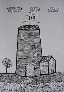 Dvorac,crtež-tanki crni i srebrni flomaster