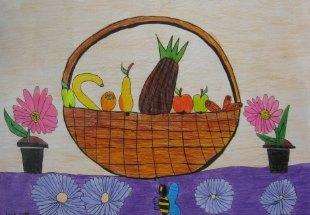 Mrtva priroda sa voćem i cvećem,crtež u boji-kombinovana tehnika(tanki crni flomaster i olovke u boji)
