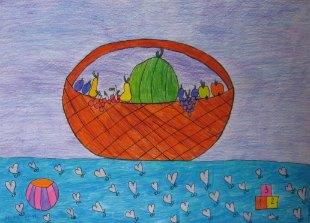 Mrtva priroda sa voćem,lopticom i kockicama,crtež-kombinovana tehnika(tanki crni flomaster i olovke u boji)