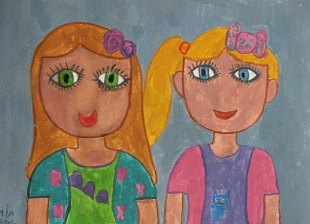 Olga i Mia(grupni portret) ,gvaš