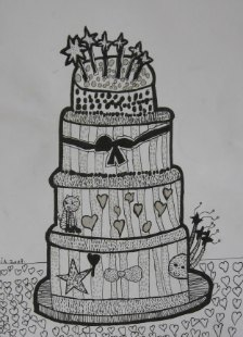 Torta, ctrež - tanki crni i srebrni flomaster