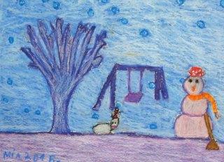 Zima,crtež u boji-voštani pastel