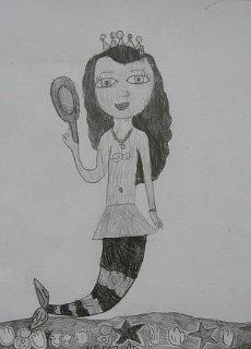 Morska sirena sa ogledalom,crtež-olovka(6H;HB,4B)