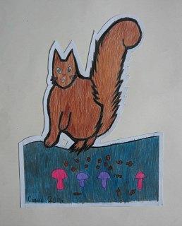 Veverica Veca,prostorni crtež-olovke u boji
