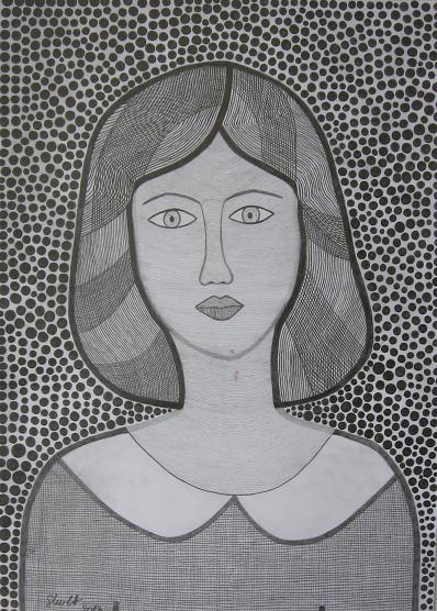 Crtež-portret mlade žene, vežba