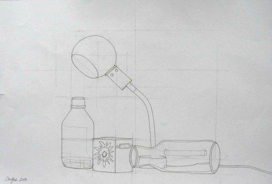 Mrtva priroda sa svetiljkom, crtež-olovka