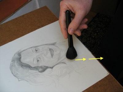 Čišćenje crteža četkicom