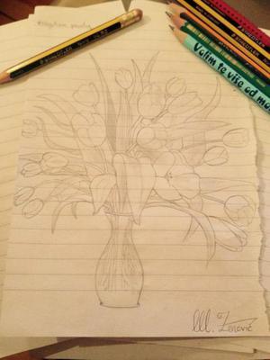 Negativan prostor - Vaza sa cvijećem