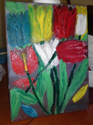 Ulje na platnu-apstraktni cvetovi