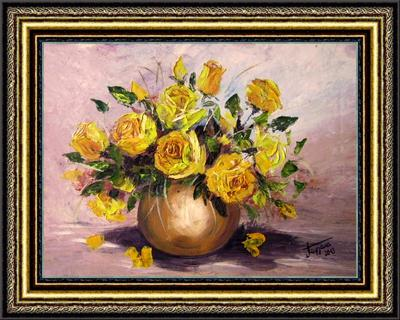 Žute ruže u vazi-ulje