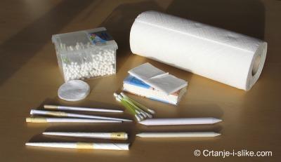 Papirni štapići i ostali pribor za razmazivanje grafita