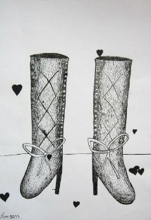 Čizme(kompozicija 2), pero-crtež, crni tuš
