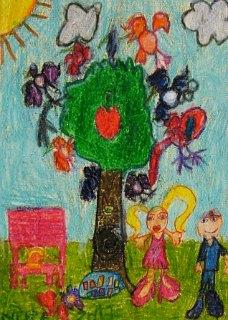 Dora i Martin sa pticama u proleće,crtež u boji-voštani pastel