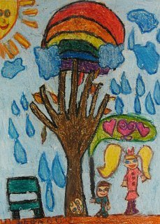 Jesen sa Martinom i devojčicom sa žutim kikama,voštani pastel-crtež u boji